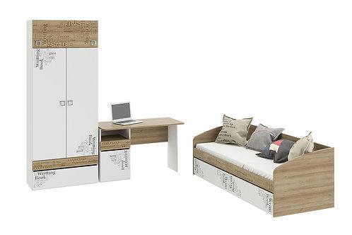 Набор детской мебели «Оксфорд» стандартный (Ривьера/Белый с рисунком)