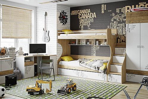 Набор детской мебели «Оксфорд» №1 (Ривьера/Белый с рисунком)