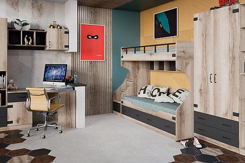 Набор детской мебели «Окланд» №3 (Фон Черный/Дуб Делано)