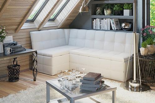 Скамья угловая со спальным местом «Домино» (Кожзам белый)