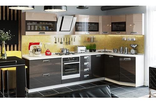 Угловая кухня «Бьюти» №3 (БЬЮТИ (КАПУЧИНО))