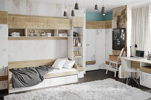 Набор детской мебели «Оксфорд» №2 (Ривьера/Белый с рисунком)