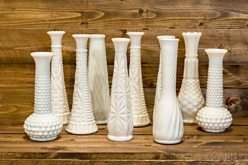 White Milk Glass Bud Vases