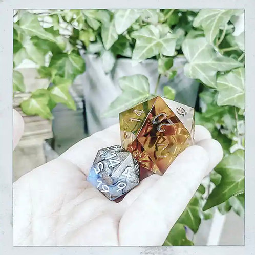"""2"""" Amber Chonky Dice"""