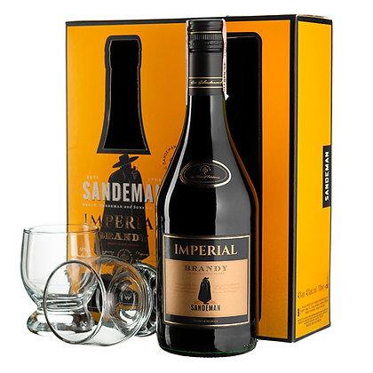 Бренді Sandeman Imperial Solera 0.7L 40% в коробці з 2 келихами
