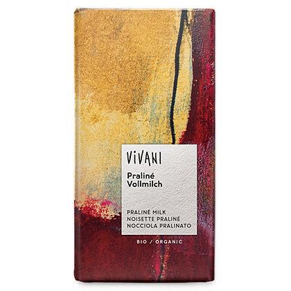 Шоколад молочний органічний з праліне Vivani 33% 100г