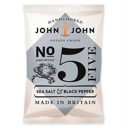 Чіпси картопляні John & John №5 з морською сіллю та чорним перцем 150г