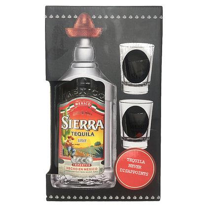 Текіла Sierra Tequila Silver 0.7L 38% з двома чарками в подарунковій упаковці