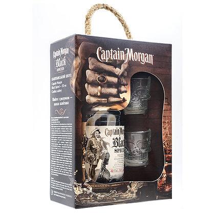 Ром Captain Morgan Black Spiced 0.7L 40% в коробці з 2 келихами