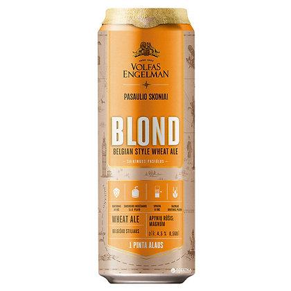 Пиво Volfas Engelman Blond світле нефільтроване 0.568L 4.5%