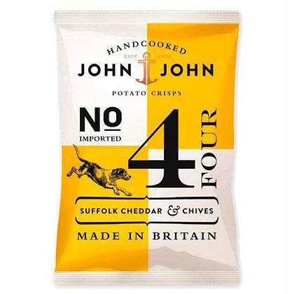 Чіпси картопляні John & John №4 з сиром Чеддер із Саффолку і шніт-цибулею 150