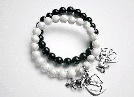 Black Beaded Bracelet with Unicorn charm