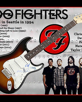 Foo Fighters signed guitar with custom m