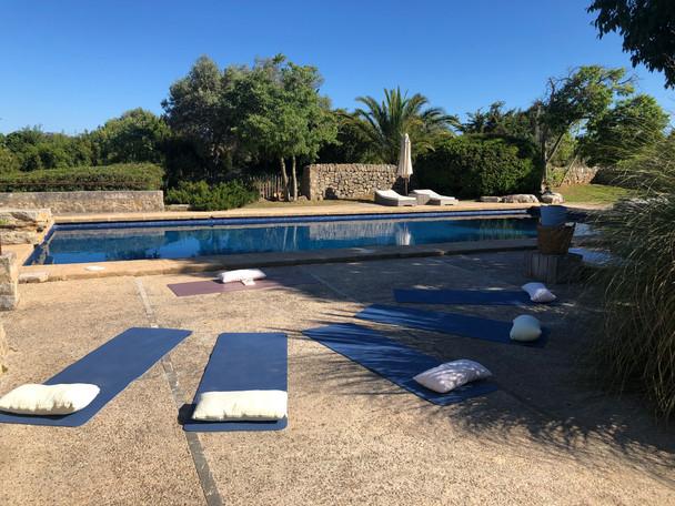 morning yoga at the pool