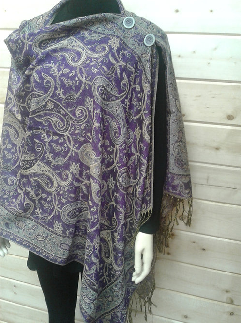 Medium Purple Paisley-2 Button Shawl