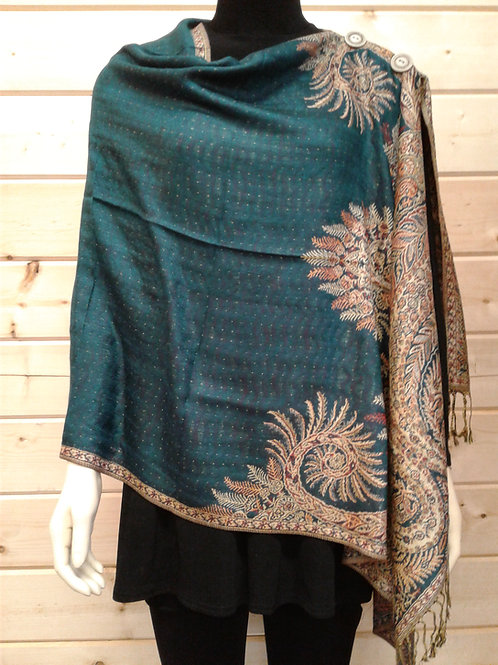 Teal (blue/green) 2 Button Pashmina with Red/Tan Large Border