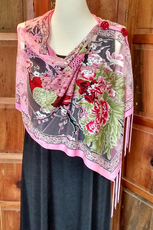 Peacock-Bright Pink/Red/soft Moss Green-Cutout Chiffon/Knit-2 Button Shawl