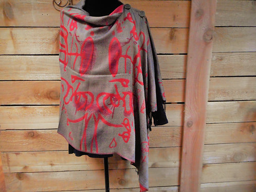 Tan (and black interwoven threads) with Red 2 Button Shawl