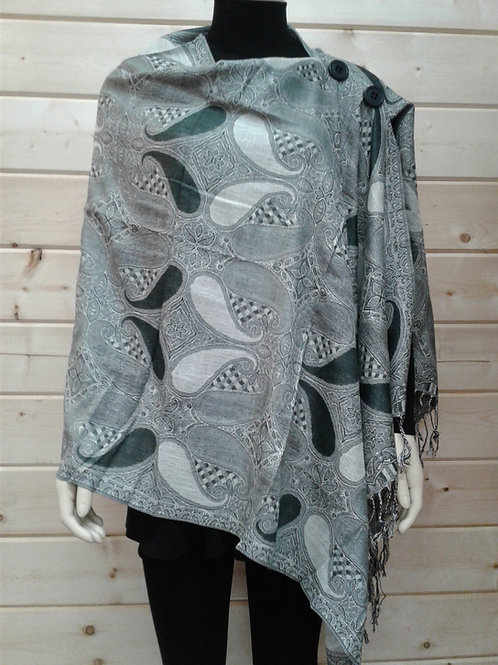 Gray with Black Medium Paisley-2 Button Shawl