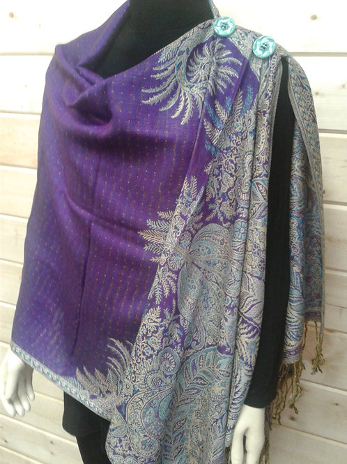 Medium Purple with Turquoise & Beige Large Paisley Border-2 Button Shawl