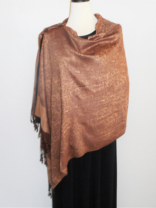 Camel Brown & Chocolate Brown Light Weight-2 Button Shawl
