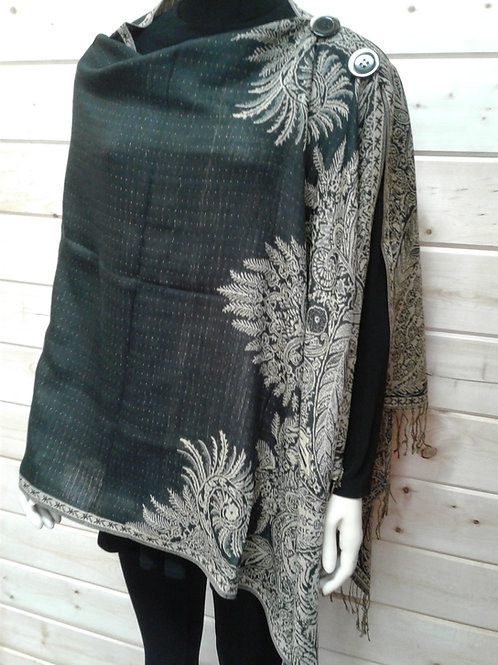 Black with Tan/Gold Big Paisley Border-2 Button Shawl