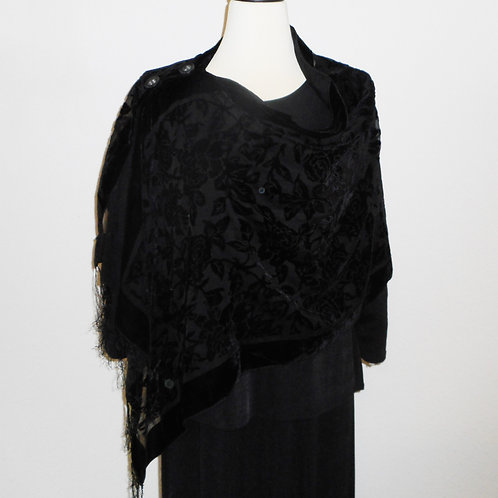 Black Burnout Velvet 2 Button Shawl