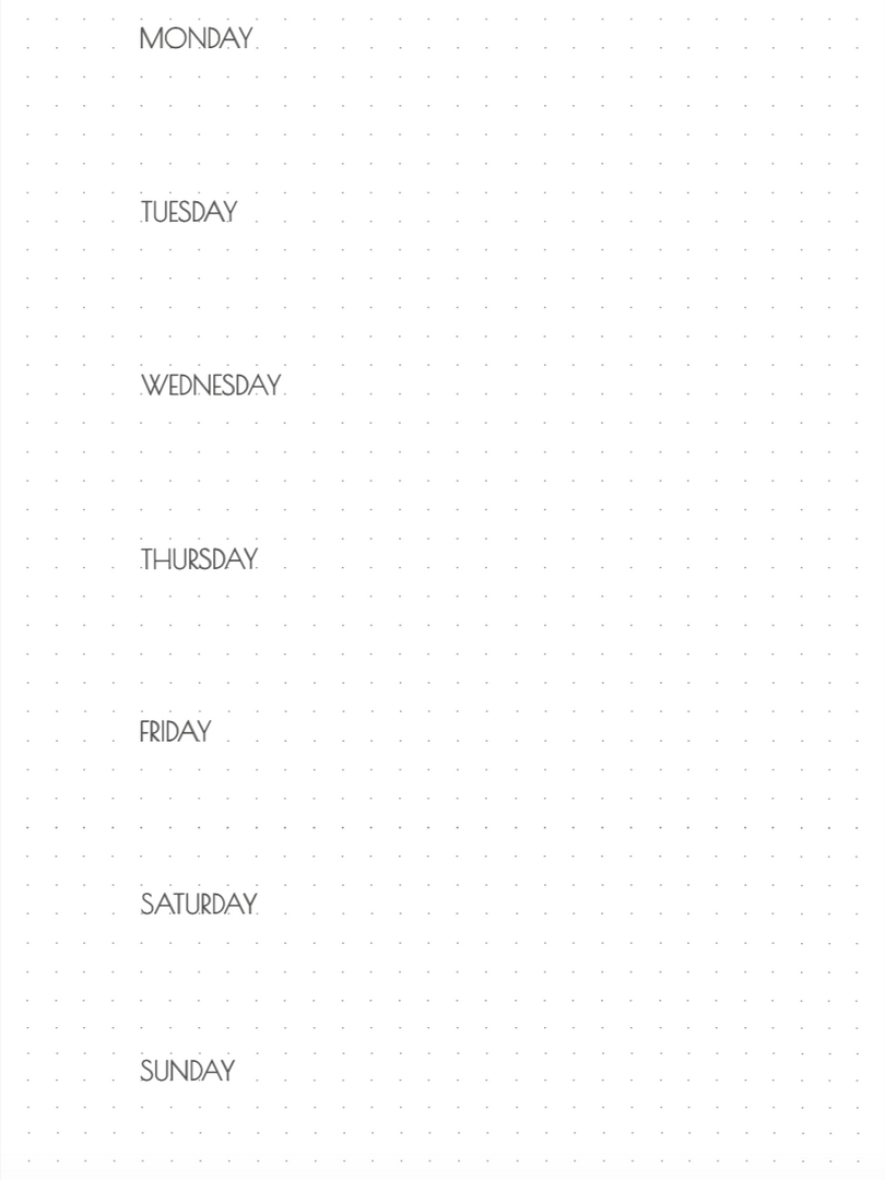 A5 weekly calendar