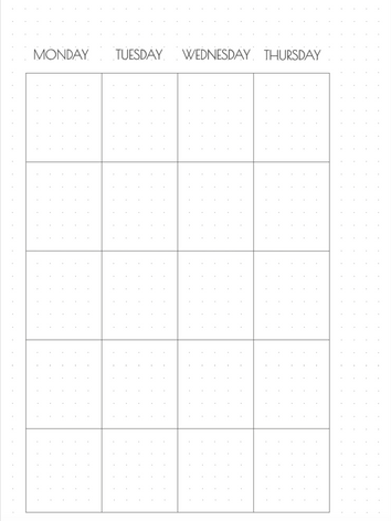 A4 monthly calendar (left side)