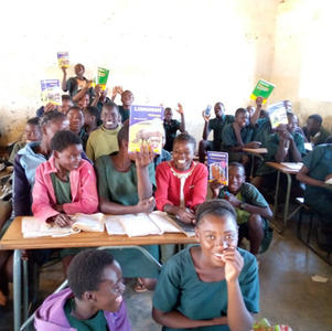 June 2021 desks and books donated to Sikabenga school