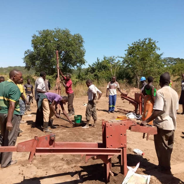 Villagers moulded bricks for their school