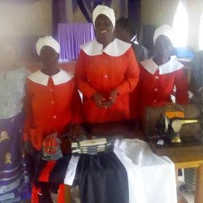 Women at United Church of Zambia sewing pads
