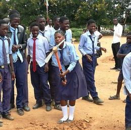 Children groundbreaking for their new school