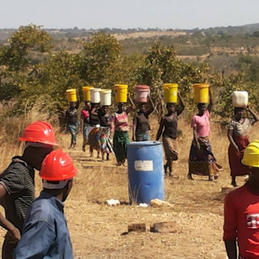 Women carried water uphill to building site