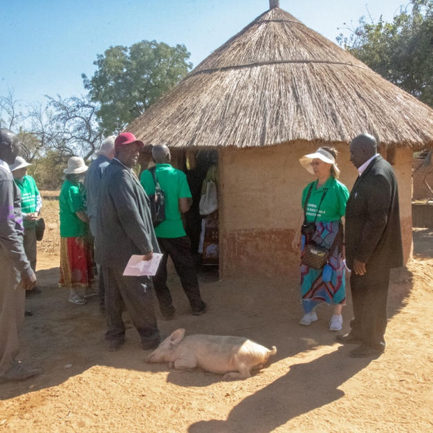 Villagers showed Friends of Monze visitors their homes