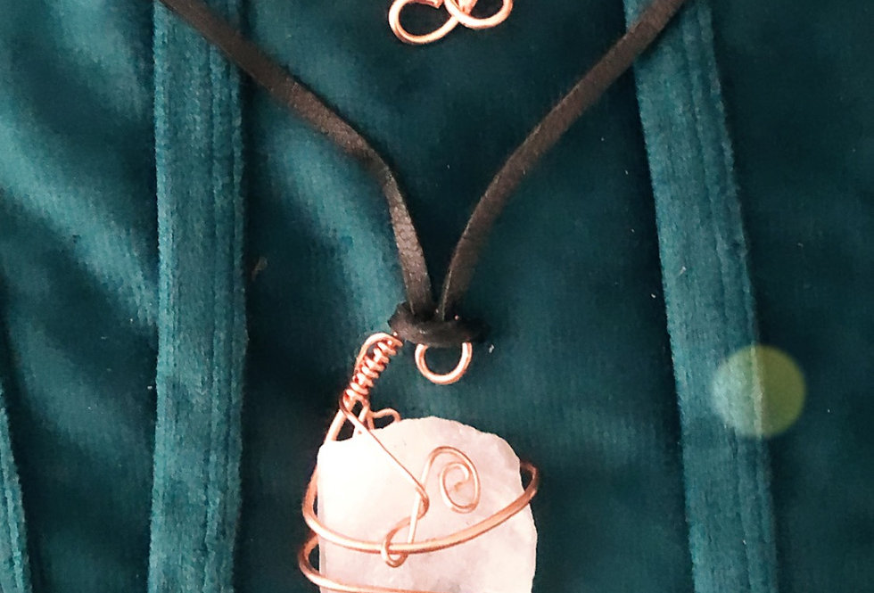 Quartz Crystal & Copper Pendant on a Leather Cord