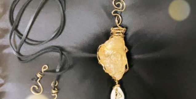 Citrine, Cowrie Shell and Brass Pendant With Leather Cord