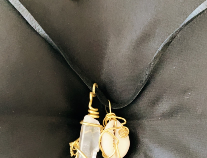 Cowrie Shell and Brass Pendant with Leather Cord