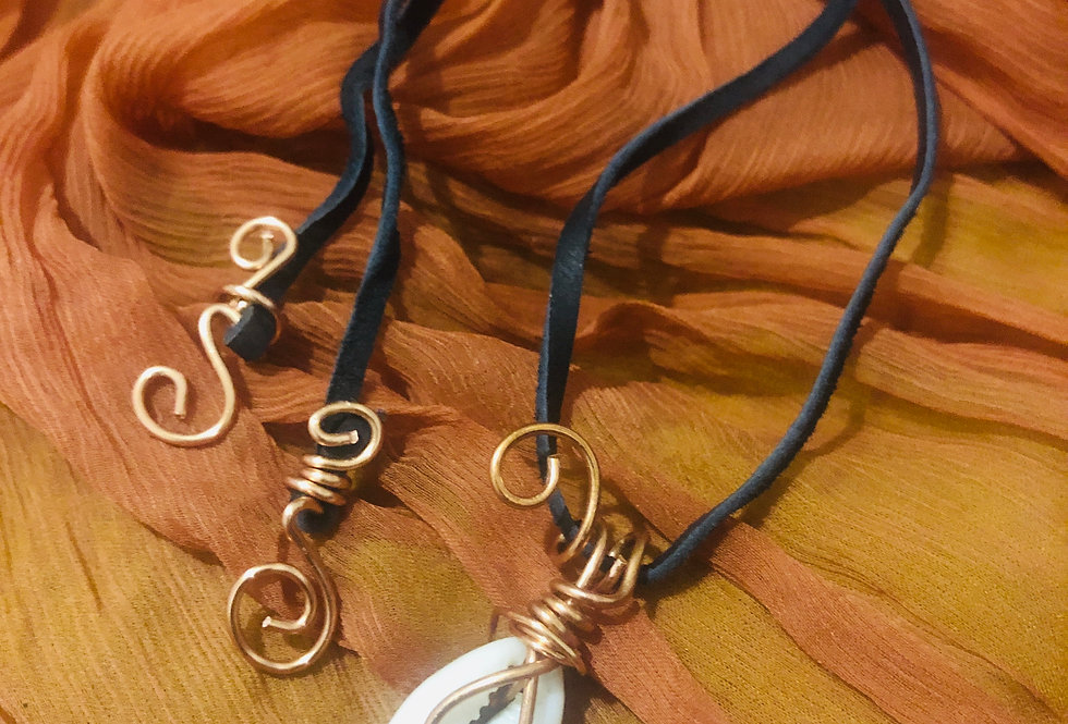Cowrie Shell & Copper Pendant on a Leather Cord