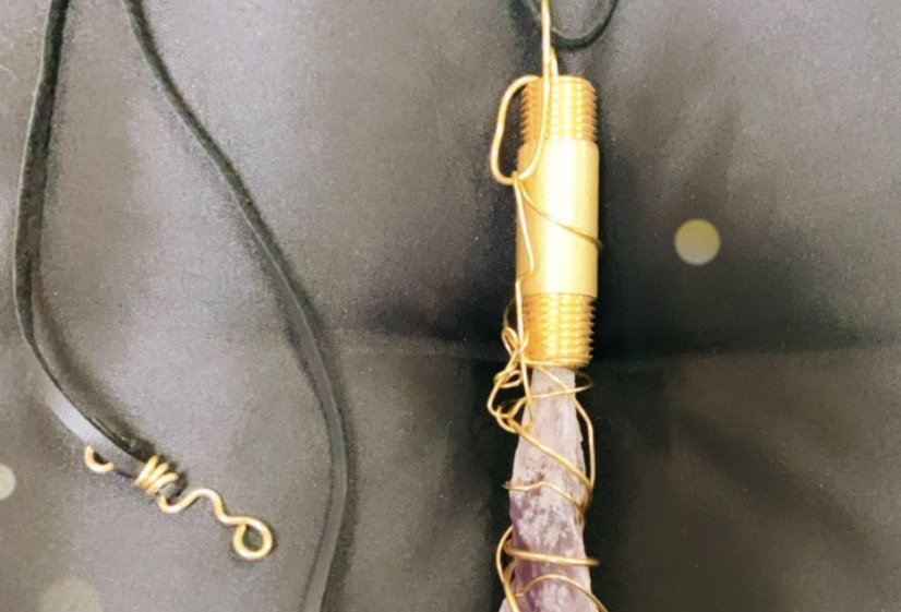 Amethyst Crystal and Brass Pendant with Leather Cord