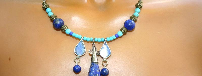 Boho Choker Lapis Lazuli & Sodaliet