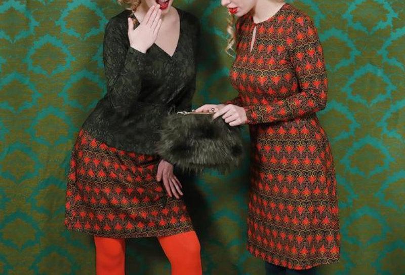 "Lalamour  A-Line Skirt  ""Twenty"" Green Red Gold"