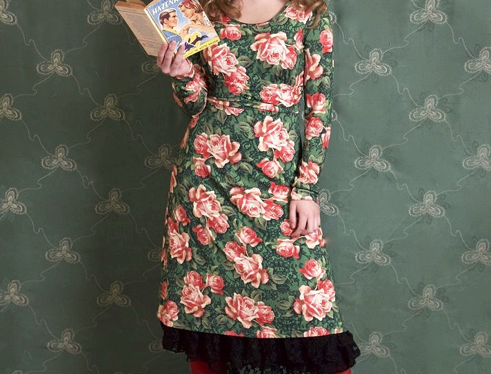 """LaLamour Dress """"Wild Roses"""" Green"""