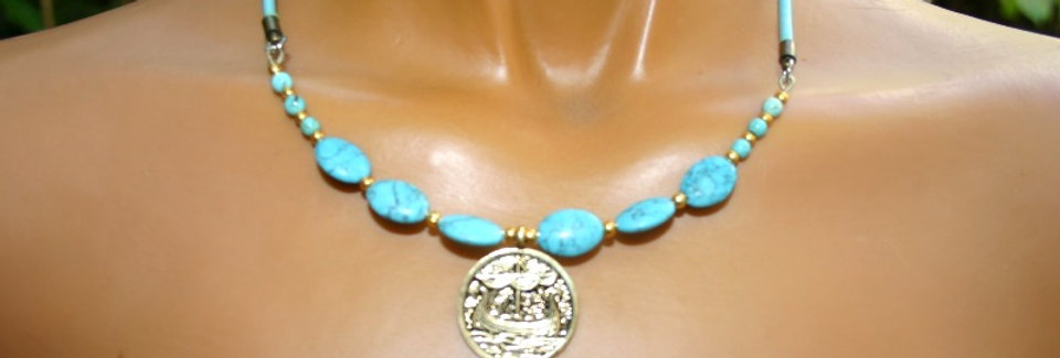' One of a kind'  Necklace - Vikingschip & Turkoois