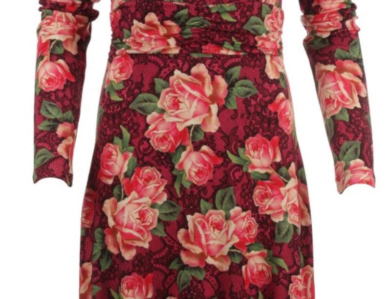 "Lalamour Dress ""Wild Roses"" Bordeaux"