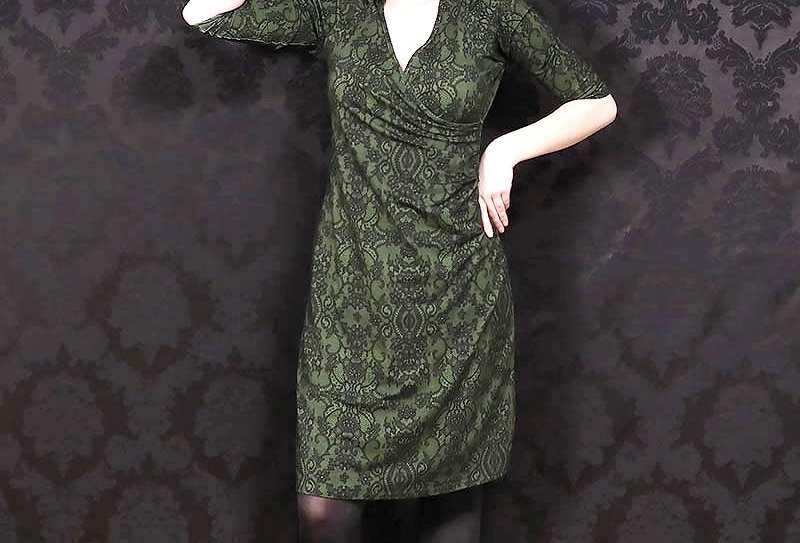 "LaLamour Wrap Dress ""Black Finishing Lace "" Green"