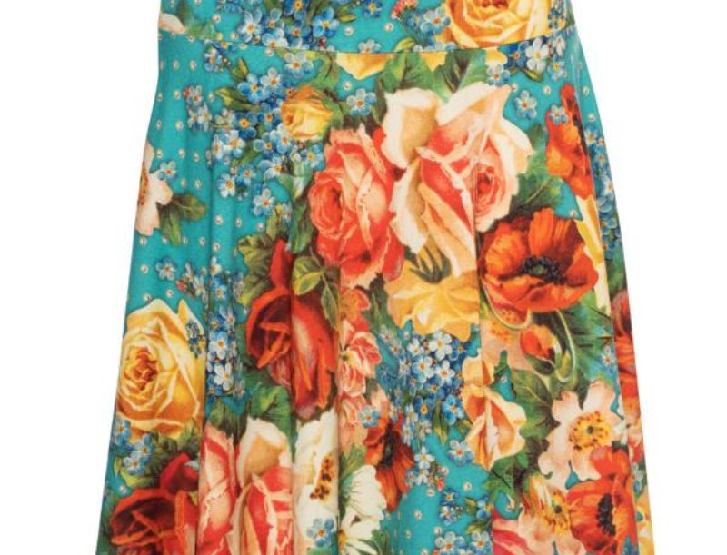 Lalamour Circle Skirt Roses Turquoise