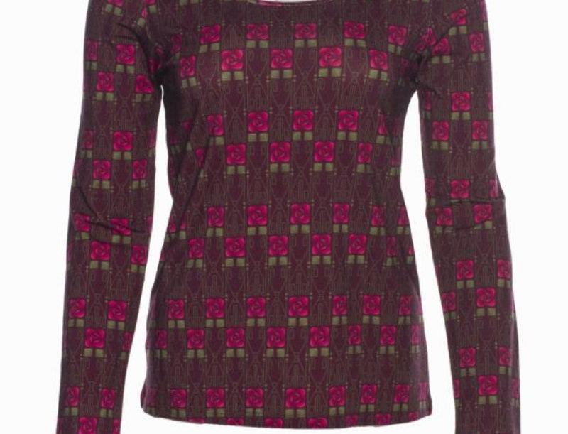 "LaLamour T-Shirt long sleeves ""Square Rose Bordeaux"