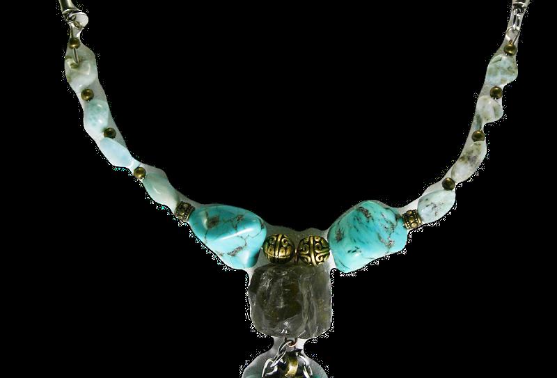 ' One of a kind'  Necklace - Turkoois, Rookkwarts en Larimar