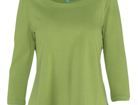 Loose Shirt 3/4 Sleeves Plain CO Green